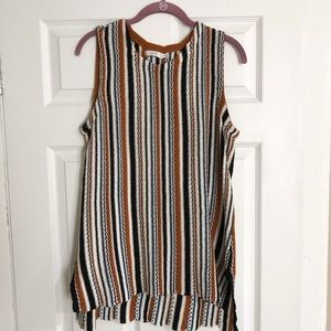 Striped high-low tunic sweater